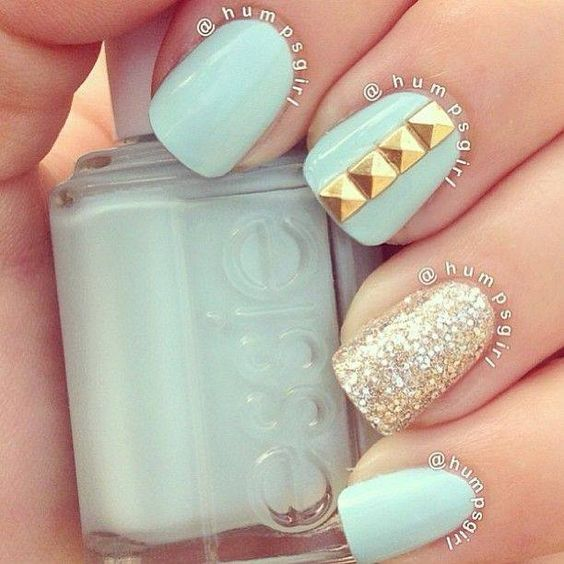 Mint Nail Design with Studs /via - 17 Fashionable Mint Nail Designs For Summer Styles Weekly