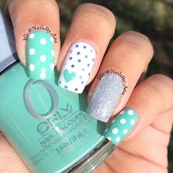 Lovely Mint Nail Design /via - 17 Fashionable Mint Nail Designs For Summer Styles Weekly