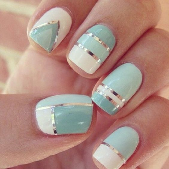 Mint Nail Design for Prom /via - 17 Fashionable Mint Nail Designs For Summer Styles Weekly
