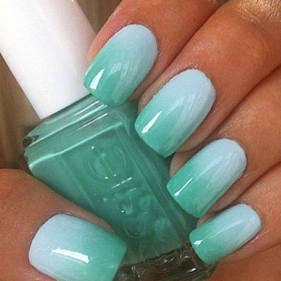 Ombre Mint Nail Design /via - 17 Fashionable Mint Nail Designs For Summer Styles Weekly