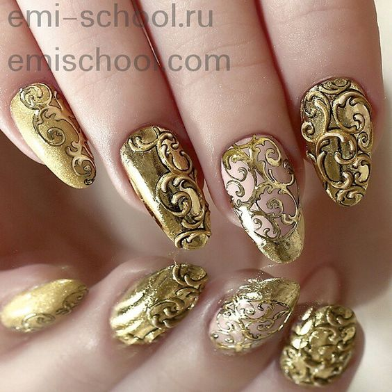 Vintage Golden Nail Design. Nail - 18 Vintage Floral Nail Designs You Will Love Styles Weekly