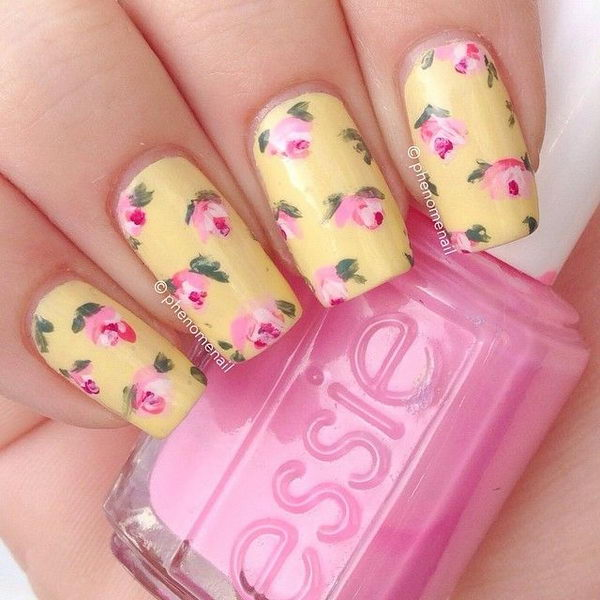 18 vintage floral nail designs you will love styles weekly vintage floral nail design nail prinsesfo Image collections
