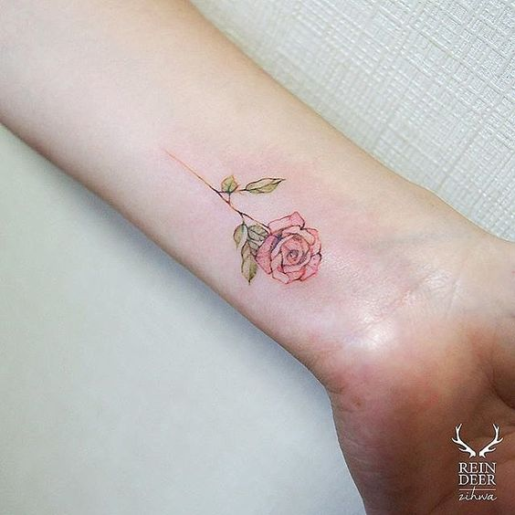 16 beautiful watercolor tattoo designs for women styles for Small rose tattoo tumblr