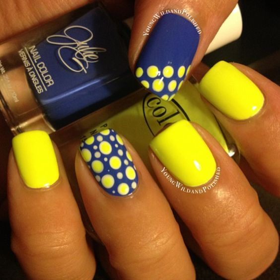 17 trendy yellow nail art for summer styles weekly yellow and blue nail design prinsesfo Gallery