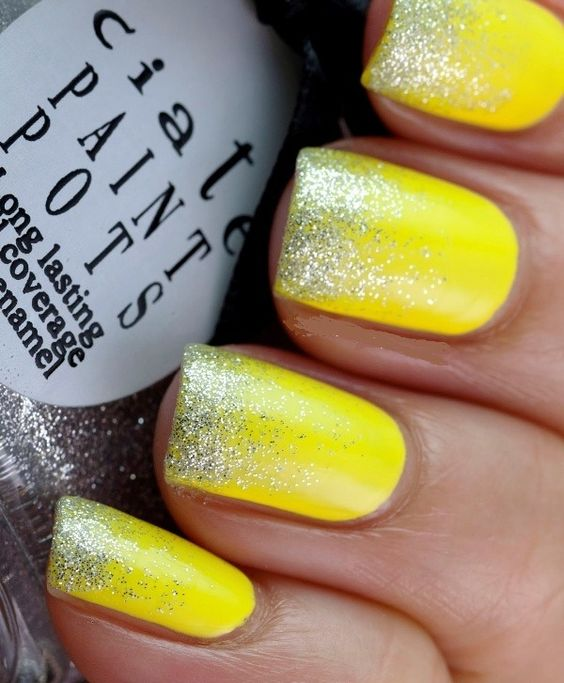 Easy Glitter Yellow Nail Design. nail - 17 Trendy Yellow Nail Art For Summer Styles Weekly