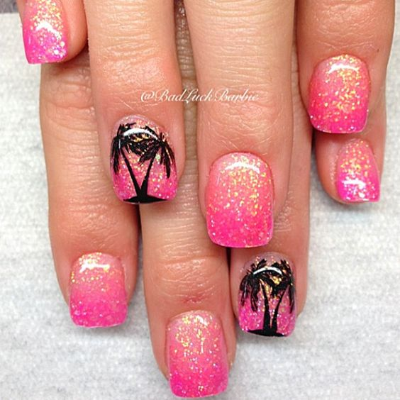 Hot pink glitter nail designs best image nail 2017 hot pink glitter nail design 18 chic manicure ideas for short nails styles weekly prinsesfo Images