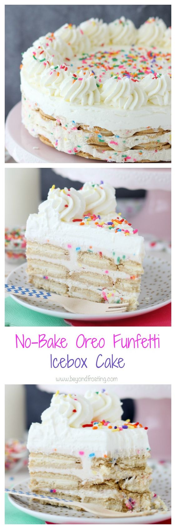 1No-Bake Oreo Funfetti Icebox Cake