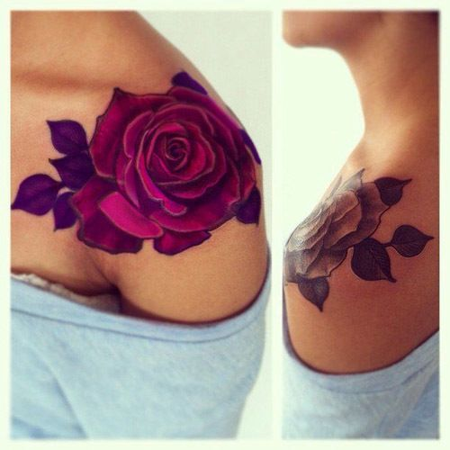 stylish flower tattoo - rose tattoo on the arms