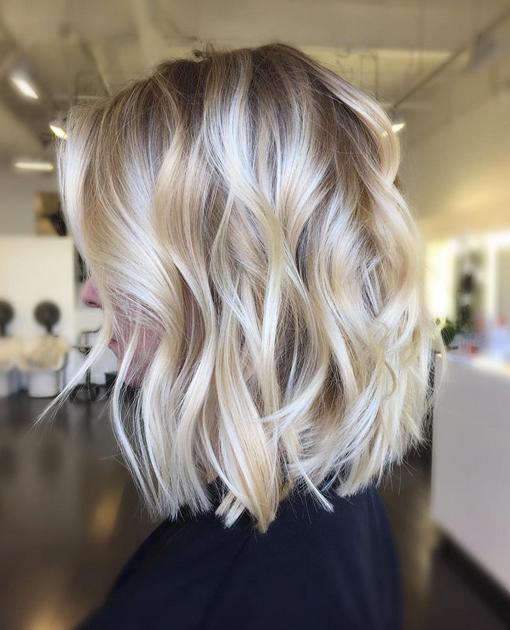 Soft Wavy Blonde Balayage Bob Hairstyles