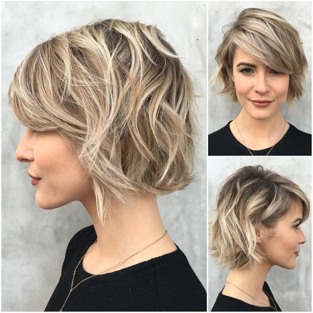 cute short bob hairstyle with bangs 2017