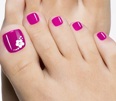 hot pink with floral big toe design toe nail designs toe nail art ideas