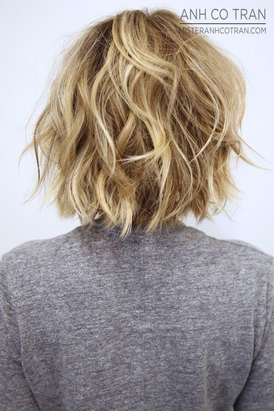 Back view of fmessy bob hairstyle for short hair