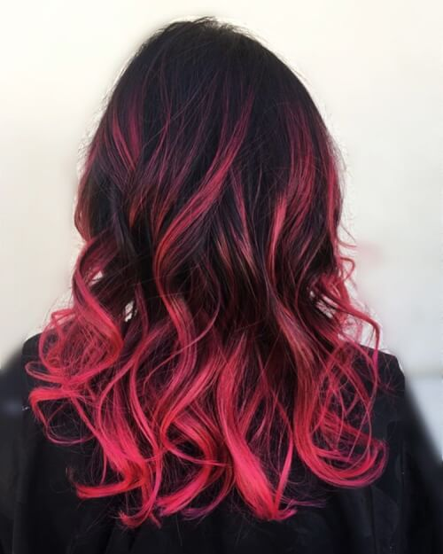 Ombre hair color black to pink