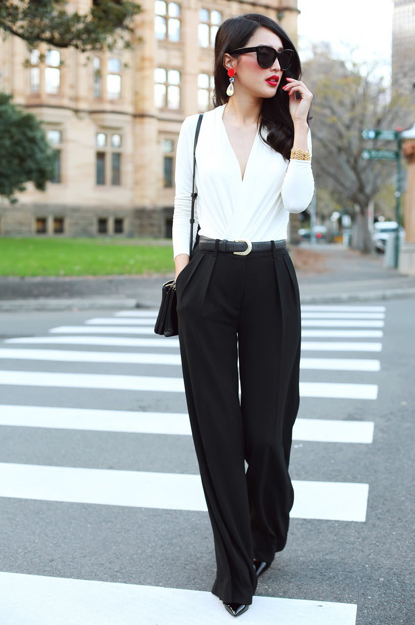white pants and black blazer